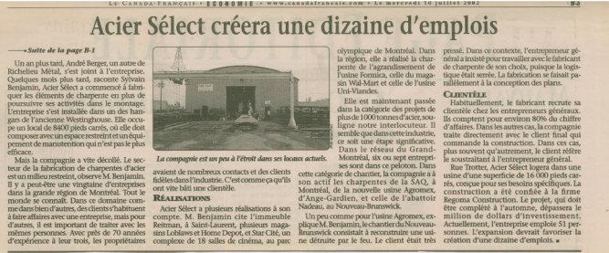 Article de journaux d'Acier Sélect